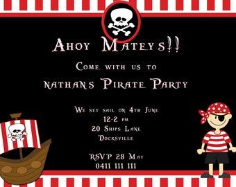 Pirate invitations, Digital Invitations,  DIY Invitations , kids birthday party, Pirate birthday