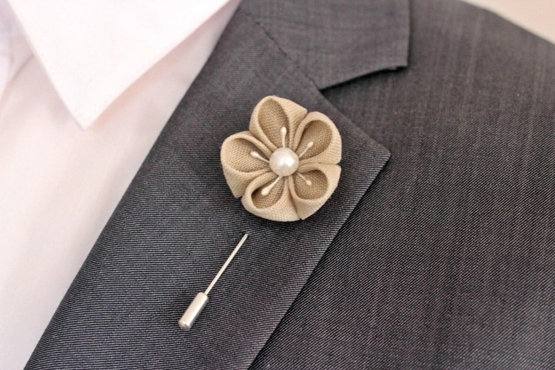 Autumn brown Ivory flower lapel pin Mens lapel flower