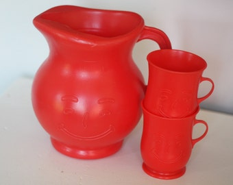 Vintage Kool Aid Pitcher and 2 Cups - Red