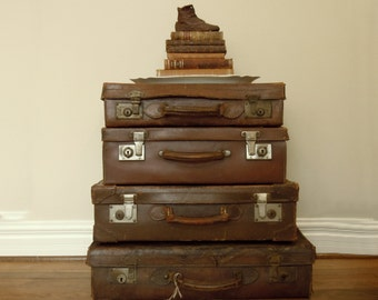 Four Vintage Antique Leather Suitcases / British Leather Luggage / Display Stack / Brown Leather / Studio Decor / Brown Leather