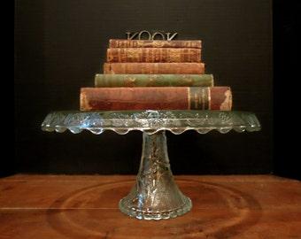 Vintage / Antique Glass Pedestal Cake Stand / Cake Plate / Tall Clear Glass Plate Pedestal Cake Stand  / Solid Base