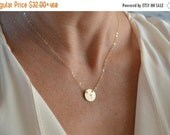 Valentines Sale / Gold Cross Disc Necklace, Religious Necklace, Cross Necklace, Dainty Disc Necklace, Layered Necklace, 14k Gold Sterling, C