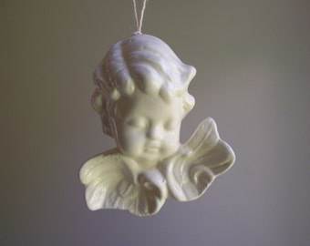 Angel Christmas Ornaments   Set of 5 Glazed Porcelain Cherubs   Sleeping Angels   French Country Cottage Chic   Holiday Decor