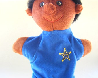 Vintage Police Officer Hand Puppet Plush Pups Toy Children Play Puppet Show Stuffed Kids Parenting African American Cop
