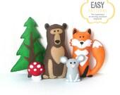 Woodland Stuffed Animal Patterns, Felt Fox Bear Mouse Tree Mushroom Plushie Patterns, Fox Bear Mouse Softie Patterns