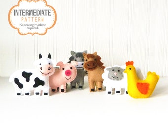 Tiny Farm Animal Patterns, Small Felt Barnyard Animals Sewing Pattern, Cow Pig Donkey Horse Sheep and Chicken Sewing Patterns