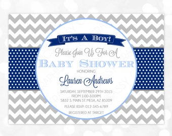 It's A Boy Baby Shower Invitation - Baby Boy Invite Chevron Polka Dots Gray Navy Blue Oh Baby  DIY Printable Invite PDF (Item #74)