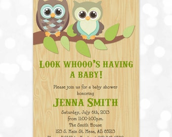 Gender Neutral Owl Baby Shower Invitation - Boy or Girl Woodland Wood Grain Tan Blue Green DIY Printable Invite PDF (Item #4)