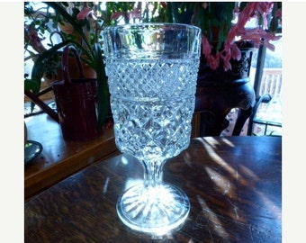 AUTUMN SALE Ancho Hocking Wexford pattern Cut Glass Wine Glasses 1960s 1 of 10