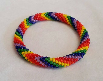 Rainbow V-Pattern Bead Crochet Bangle - Ready to Ship