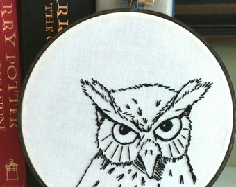 Owl embroidery; Black and white owl; Owl art; Owl gift; Woodland nursery owl; Owl sketch embroidery; Black and white embroidery