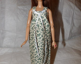 Long blue floral nightgown with ribbon trim for Fashion Dolls - ed849