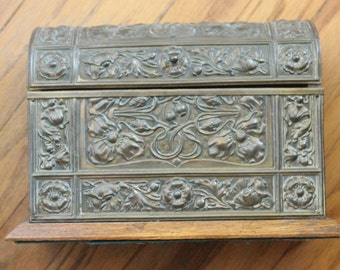 Antique late 1800's to early 1900's Art Nouveau Handmade Repousse Brass and Oak Letter Box