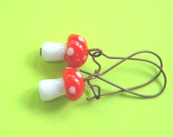 Toad Stool Fairy Garden Earrings