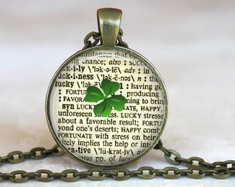 Lucky..Definition..Vintage Dictionary Page..Glass Pendant, Necklace or Key Ring
