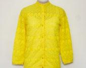 SALE - vintage 1960's dandelion yellow cardigan   small/medium pointelle