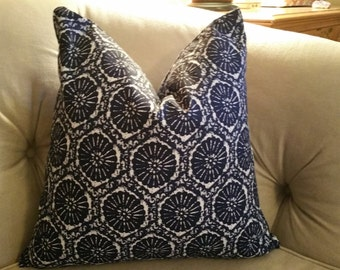 1 pillow cover in ikat, or starfish design shown in indigo blue. 18x18, 20x20, 24x24