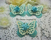 Light Teal and Ivory Paper Butterflies, Paper Embellishments for Scrapbooking Cards Mini Albums Tags Altered Projects and Paper Crafts