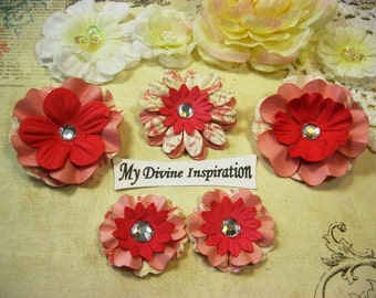 Peachy Pink and Coral Handmade Mulberry Paper Flowers, Paper Embellishments for Scrapbooking Cards Mini Albums Tags and Paper Crafts