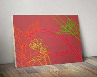 Paradise Drift - large bright neon minimalistic pop painting tropical leaves coral green orange pink vibrant wood art original ready to hang