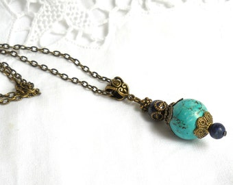 turquoise bohemian necklace pendant necklace gypsy necklace boho necklace turquoise necklace bronze pendant necklace bohemian jewelry