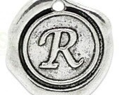 """Add On Initial """"R"""" Charm, personalized letter charm, monogram, Personalized Keychain, Personalized Necklace, antiqued silver plated charm"""