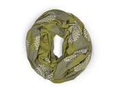 INFINITY SCARF - Screen Printed - Gray Flowers on Olive Green