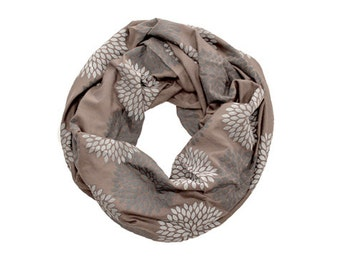 INFINITY SCARF - Screen Printed - Gray Double Flowers on Toffee