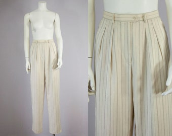 "80s 90s Vintage Ralph Lauren Rayon Pinstripe High Rise Pleated Trousers (S; 27 1/2"" Waist)"