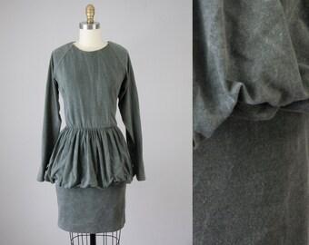 80s Vintage Grey Washed Knit Bubble Dress (M)