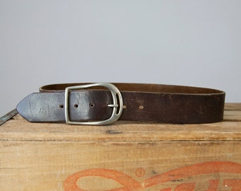 "1960s 70s Vintage Brown Leather Distressed Belt with Silver Buckle (29"" - 34""; XS, S, M, L)"