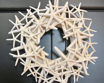 "Rustic Starfish Wreath- 14"" Cream Burlap Wreath with Natural Starfish, Nautical Beach Decor, Destination Wedding, Beach Wedding Decor, Beach"
