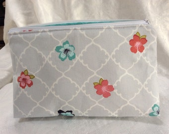 Light Gray Floral Cosmetic Makeup Bag
