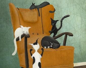 Cat life - Art print (3 different sizes)