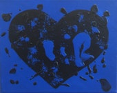 Black and Blue Abstract Heart Original Art Painting 10 x 8