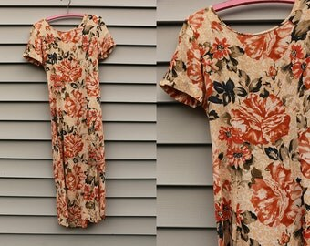 Vintage VTG VG 1980's 80's 1990's 90's Cream Colored Floral Rayon Dress Grunge Hipster Made by E.D. Michaels Women's Size 5 6 USA