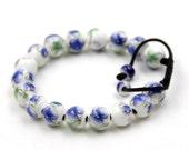 10mm Porcelain Flower Leaf Tibetan Buddhist Prayer Beads Wrist Mala Bracelet  T3313