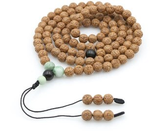 108 8mm x 8mm Rudarksha Bodhi Seed Tibetan Buddhist Prayer Beads Mala Necklace N108-JG002