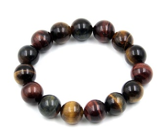 14mm Red Tiger Eye Gem Tibetan Buddhist Medition Yoga Prayer Wrist Bracelet  T3280