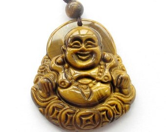 Tiger Eye Gem Tibetan Buddhist Happy Lucky Buddha Pendant Amulet 38mm*34mm  T3199