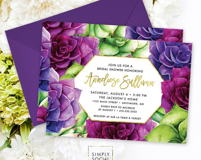 Succulents Bridal Shower Invitation - Purple and Green Succulent and Faux Gold Foil Terrarium Floral Boho Shower Invitation Printable