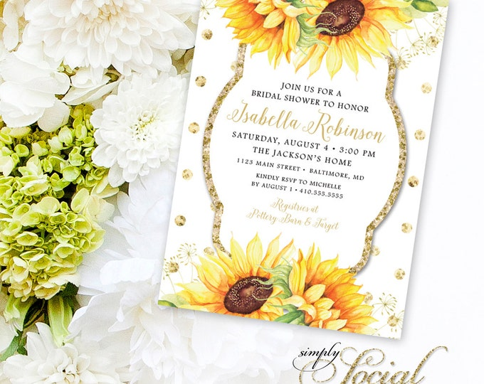 Glitter Glam Sparkling Watercolor Sunflowers and Polka Dots Bridal Shower Invitation Printable