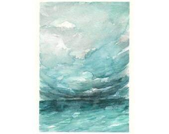 "Ocean watercolor, abstract watercolor, Ocean Art, Abstract Landscape, Original Ocean Landscape Watercolor Painting, Sky art 5 x 7"""