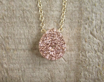 Rose Gold Druzy Necklace Titanium Drusy Quartz 14K Gold Fill