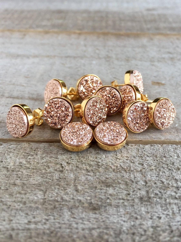 druzy earrings druzy stud earrings rose gold druzy rose. Black Bedroom Furniture Sets. Home Design Ideas