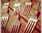 Hand Stamped Vintage Fork - Fork Cheese Markers - Housewarming Gift - Hostess Gift