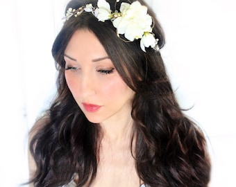 floral crown, bridal headpiece, wedding flower crown, ivory Flower crown, rustic head wreath, wedding headband, bridal hair