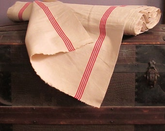 Rustic Vintage French Metis Linen Hand Dish Tea Towel Heavy Fabric by the Yard