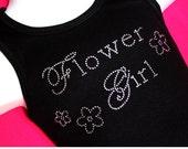 CLEARANCE- Girls 4 Black Tank, Flower Girl, Flower Girl Tank top,Flower Girl Rhinestone Tank, Flower Girl Bling Shirt
