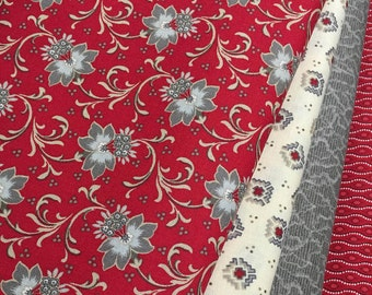 4 ~ Red Is The New Neutral - Quilt Fabric Fat Quarters ~ Faye Burgos for Marcus Brothers ~ Red, Gray, Cream